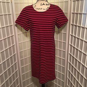 J. Crew Dresses - J Crew Mid Length Navy Coral Striped Sz L Dress